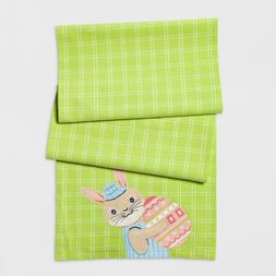 """72"""" x 14"""" Plaid Green White Spring Easter Bunny & Egg Table"""