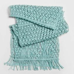 "72""x14"" Macrame Table Runner Aqua - Opalhouse"