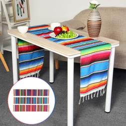 84x14 mexican serape table runner tablecloth cotton
