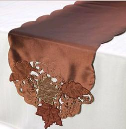 70 inch TABLE RUNNER BRONZE Leaves NWT Fall ~ Thanksgiving