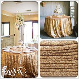BalsaCircle 108-Inch Gold Sequin Round Tablecloth for Weddin