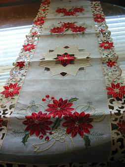Christmas Embroidered Table Runner Cut Work Red Poinsettia 1