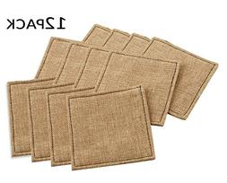 Cotton Craft - 12 Pack Jute Reversible Coasters - Natural -