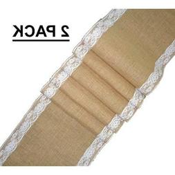 Cotton Craft - 2 Pack - Jute Burlap with Lace Table Runner 1
