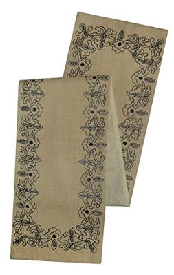 Cotton Craft Border Trellis Embroidery Jute Table Runner - C