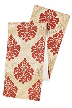 Cotton Craft Jute Damask Table Runner - 13x72 - Coral Gold -