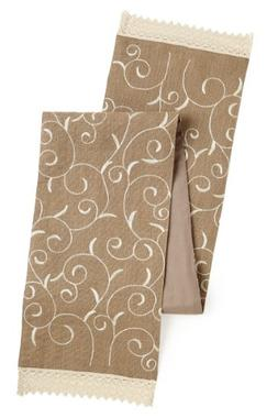 Cotton Craft Jute Embroidered Natural Table Runner - 13x90 -