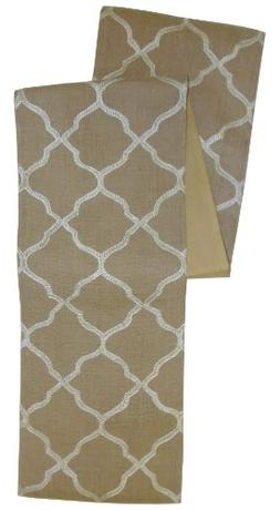 Cotton Craft Moroccan Tile Embroidered Jute Table Runner - W