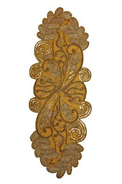 Cotton Craft - Scrolling Leaves Hand Beaded Table Runner - G