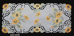 """Creative Linens Sunflower Table Runner 15x34"""" Embroidered Cu"""