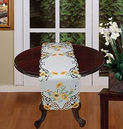 """Creative Linens Sunflower Table Runner 15x53"""" Embroidered Cu"""