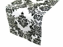 "Damask Table Runner 12"" x 108"" 3D Black White Flocking Flock"