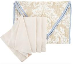 """Dennis Basso 5pc Water Mill 70"""" Table Runner & Cloth Napkin"""