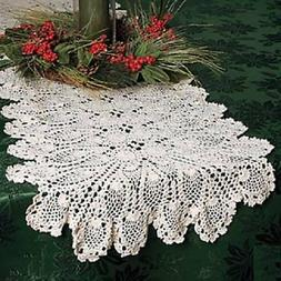 "Elegant Crocheted Beige Kitchen Dining Table Runner 54""L Cot"