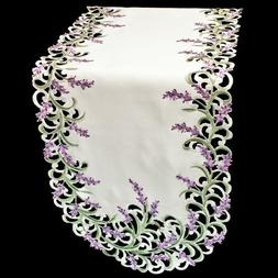 Embroidered Purple Lavender/Lilac on Ivory Table/Shelf Runne