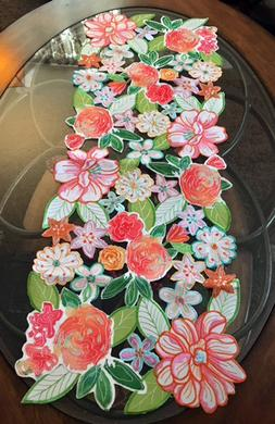 Summer Wildflower Table Runner Centerpiece Colorful Embroide