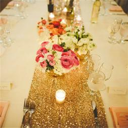 Gold 12x108 inch Sequin Tablerunner Table Runner In STOCK