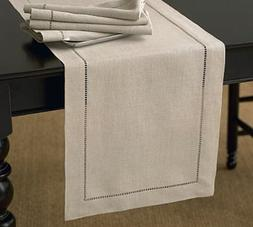"Handmade Classic Hemstitch Natural Table Runner. 18""x108"" Re"