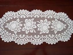 LACE TABLE RUNNER IVORY ROSE FLORAL HOME DECOR  33 X 15 ICTR