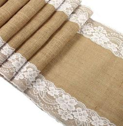 Long Burlap Table Runner with White Lace for a Wedding Baby