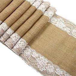 OurWarm Burlap Lace Hessian Table Runner Jute Country Outdoo