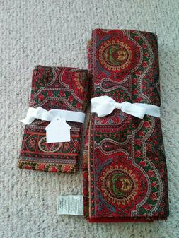"""POTTERY BARN EMIRA PAISLEY TABLE RUNNER 18 X 108"""" RED CLOTH"""