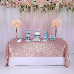 Rose Gold 60x102'' Rectangle Sequin Tablecloth Table runner
