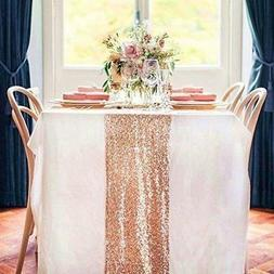 TRLYC 6 Pieces 12 by 108-Inch Wedding Royal Sequin Table Run
