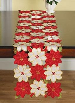 Table runner Poinsettia floral xmas party holiday Christmas