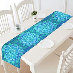 InterestPrint Abstract Bohemian Blue Flower Polyester Table