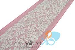 """AK-Trading Light Pink Burlap & Lace Table Runner - 9"""" Lace"""