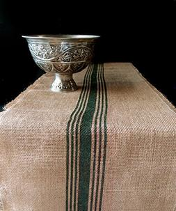 "AK-Trading 12.5"" Inches X 108 Inches Burlap Table Runner wit"