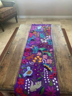 Animals Mexican Embroidered Table Runner Chiapas 65x16 Purpl