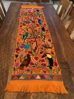 Animals Parrots Birds Mexican Embroidered Table Runner Chiap