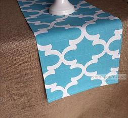 Aqua Blue Moroccan Table Runner Kitchen Home Decor Linens Ce