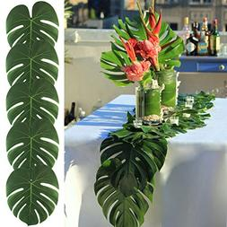 AerWo 48pcs Large Artificial Tropical Palm Leaves, 13.8 by 1