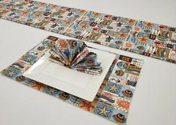 Beach House Placemat Table Runner Cloth Napkins Set