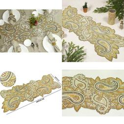 Cotton Craft - Beaded Table Runner - Paisley- 13X36 Inches -