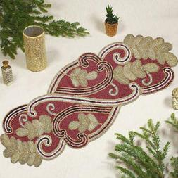 COTTON CRAFT - Beaded Table Runner - Scrolling Leaves - Red