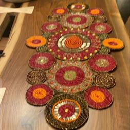 Beautiful Beaded Table Runner - Gorgeous Rich Colors - 16 in
