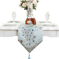 Beautiful peacock embroidery dresser table runner blue
