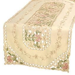 Simhomsen Beige Embroidered Floral Lace Table Runner And Dre