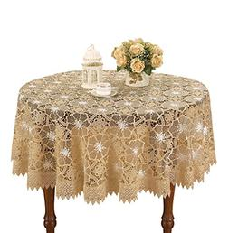 Simhomsen Beige Embroidered Lace Tablecloth 36 Inch Round