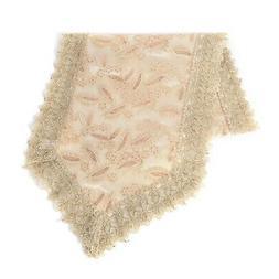 Beige Flower Pattern 100% Polyester Table Runner with Lace 1