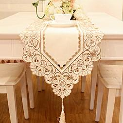 Beige flowers embroidered short satin table runner tapestry