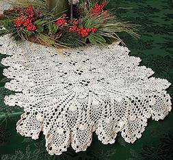 Beige Hand Crocheted Table Runner 54 Inches Long - Table Lin
