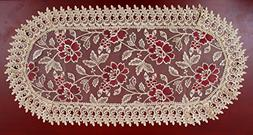 beige lace oval table runners