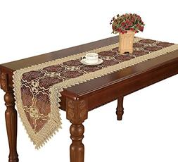 Simhomsen Beige Lace Table Runner Embroidered Maroon Floral