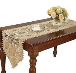 Simhomsen Large Beige Lace Table Runner Embroidered Rose 16