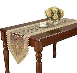 Simhomsen Beige Table Runner Embroidered Floral Lace Fabric